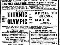 An ad for voyages of the Titanic that never took place, published the day before the unsinkable ship sank. The Globe, April 13, 1912.