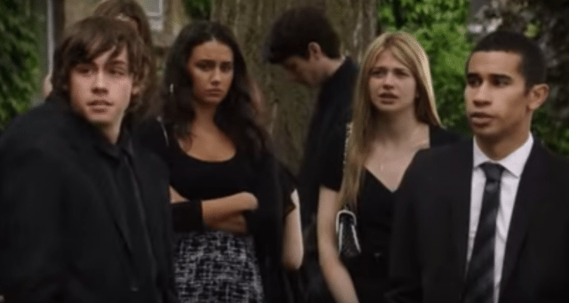 Eli, Bianca, Becky, and Dallas at Adam's funeral.