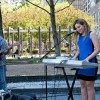 Danica Bucci performs at the Yorkville Parkette on Cumberland Street. (Dean Bradley/Torontoist)