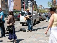 Will Gillespie performs at Spadina and Queen. (Dean Bradley/Torontoist)