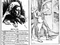 Left: tribute to Queen Victoria by cartoonist J.W. Bengough, the Globe, May 24, 1901. Right: cartoon, the Telegram, May 23, 1901.