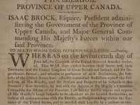 Proclamation issued by the Province of Upper Canada, 1812. Toronto Public Library.
