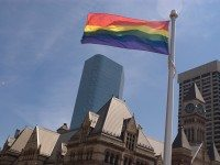 The rainbow flag at Toronto City Hall.
