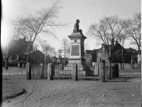 """The War of 1812 Memorial, also known as """"Old Soldier,"""" in Victoria Memorial Park.  City of Toronto Archives Fonds 1257, Series 1057, Item 188."""