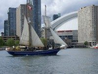 The tall ship Playfair slides through the water along Toronto's waterfront. Photo by Amanda Jerome.