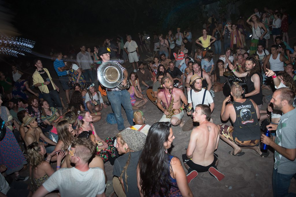 The Lemon Bucket Orkestra plays for a crowd on the beach during this summer's New Traditions Festival.