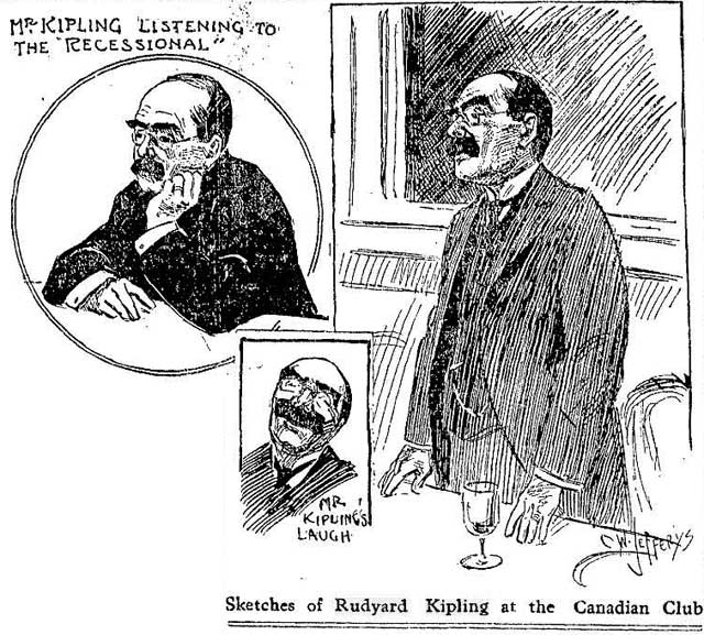 Sketches of Rudyard Kipling by C.W. Jefferys, the Toronto Star, October 19, 1907.