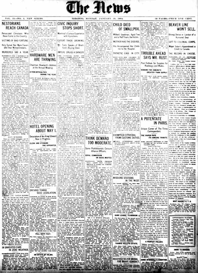 Front page of first edition of the News edited by John Willison, January 1, 1903.