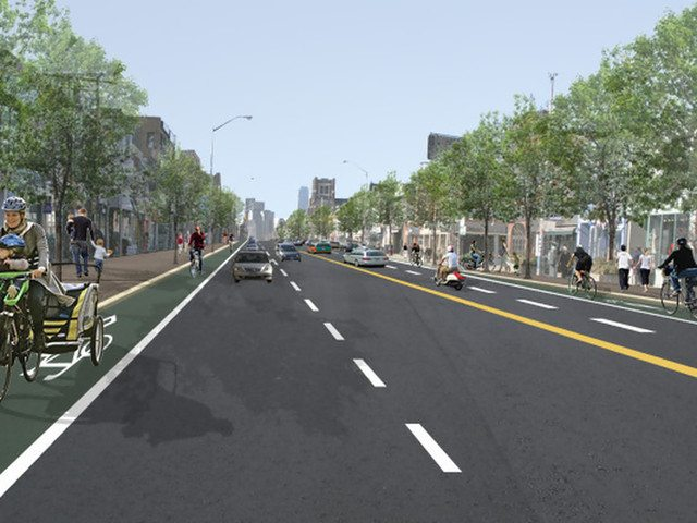 Danforth Avenue at Logan Avenue is depicted here with turning lane removed in favour of bike lanes. Image courtesy of Toronto Centre for Active Transportation