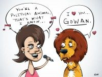 "We asked Brett for a cartoon for ""Political Animals,"" and his response was that a lion is inherently political since it is the king of the animals, and also something about Lawrence Gowan for some reason and that ""Mr. Roboto"" is ""an extremely political song."" He proclaims this the best cartoon he has ever drawn. We leave you, readers, to be the judge."
