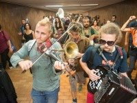 Lemon Bucket playing at this year's blackout anniversary party, at Spadina subway station en route to Union.