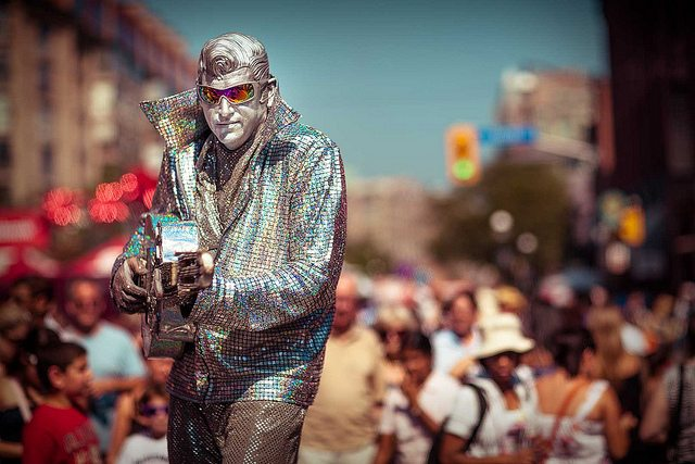 Silver Elvis at last year's BuskerFest  Photo by stillsinflux, from the Torontoist Flickr Pool