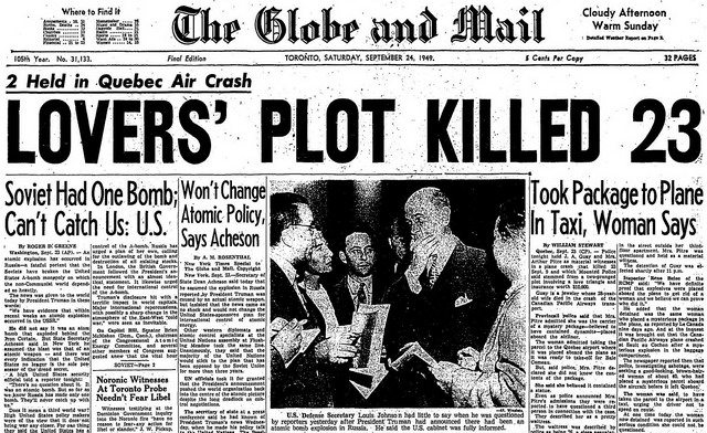 Cover story on Soviet bomb test in the Globe and Mail (September 24, 1949).
