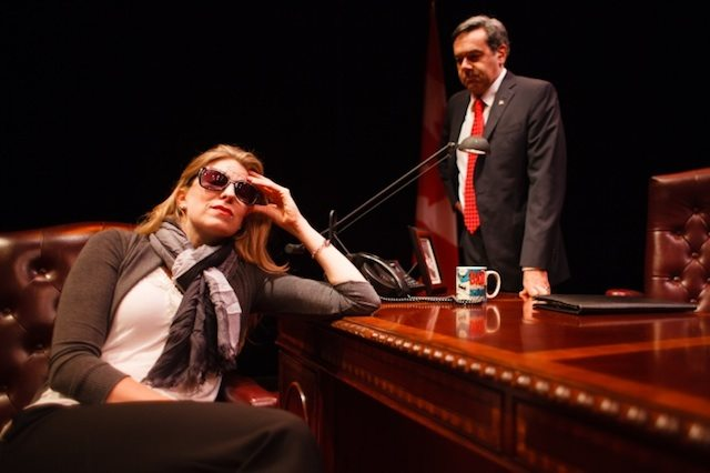 Maev Beaty and Michael Healey satirize Canadian politics in Proud. Photo by Sean Howard.
