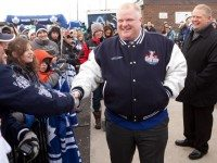 Mayor Rob Ford in his football jacket at a Maple Leafs practice in Trinity Bellwoods Park, in December 2010.