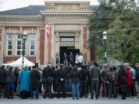 The Theatre Centre's groundbreaking ceremony, at the Carnegie Library on Queen Street West.