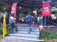 Protestors gather at the Gazebo in St. James Park to mark the one year anniversary of Occupy Toronto. Photo by HiMY SYeD/Torontoist Flickr Pool