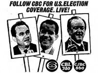 The American presidential candidates, 1968. Left to right: George Wallace (American Independent), Richard Nixon (Republican), Hubert Humphrey (Democratic). The Toronto Star, November 5, 1968.