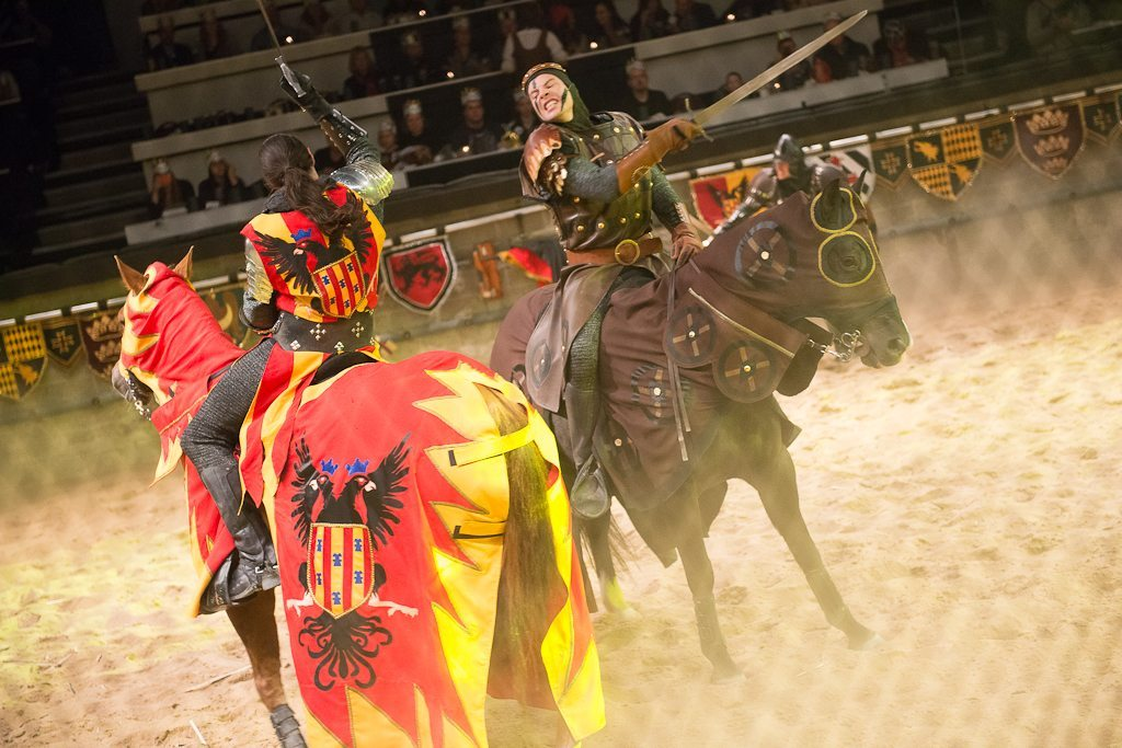 Medieval Times' noble guests feast on garlic bread, tomato bisque soup, roasted chicken, sweet buttered corn, herb-basted potatoes, the pastry of the Castle, coffee and two rounds of select beverages.