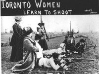 Women learning to shoot at the rifle range at Long Branch.  It is not clear if these particular women were actually with the Women's Home Guard.  City of Toronto Archives, Fonds 1244, Item 981.