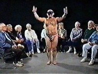 Masked men entertaining confused seniors, one of the gems featured in the Found Footage Festival. Photo courtesy of