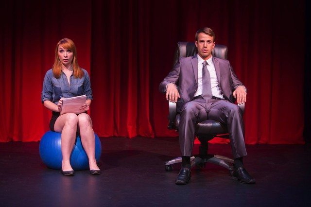 Actors Alice Moran and Patrick Whalen spoof blockbuster novel Fifty Shades of Grey in Spank!  The Fifty Shades Parody  Photo by Paul Schnaittacher
