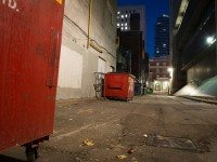 An alleyway outside of Toronto's Covenant House early on November 16, 2012