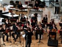 The Glenn Gould School New Music Ensemble perform Playful Virtuosity today at the Four Seasons Performing Arts Centre. Photo courtesy of Chris Hutcheson.