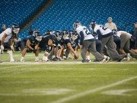 The Argos crowd the line of scrimmage Thursday at practice in a vacant Rogers Centre.