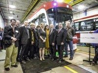 Left to right: councillor James Pasternak; Metrolinx CEO Bruce McCuaig; TTC CEO Andy Byford; councillors Paula Fletcher, Joe Mihevc, Mary-Margaret McMahon, and Josh Colle; TTC Chair Karen Stintz; councillor Maria Augimeri; then-Transportation Minister Bob Chiarelli; MP Peter Van Loan; and councillor Mike Del Grande at the preview for the TTC's new streetcars last fall.