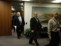 Rob Ford leaves his office to speak to the press on November 26, the day of Justice Hackland's decision.