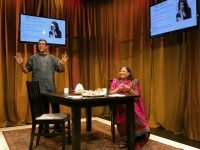 Son and mother team Ravi and Asha Jain invite audiences in for samosas and family squabbles in A Brimful of Asha. Photo by Erin Brubacher.