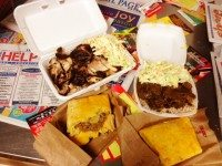 Jerk chicken, curry goat, and Jamaican patties from Allwyn's.