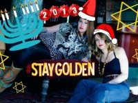 Host Becca Lemire (Left) and DJ Cherry Pop (Laura Cilevitz) welcome all to SheDoesTheCity's Stay Golden Holiday Hangover party tonight. Photo by Solana Cain.