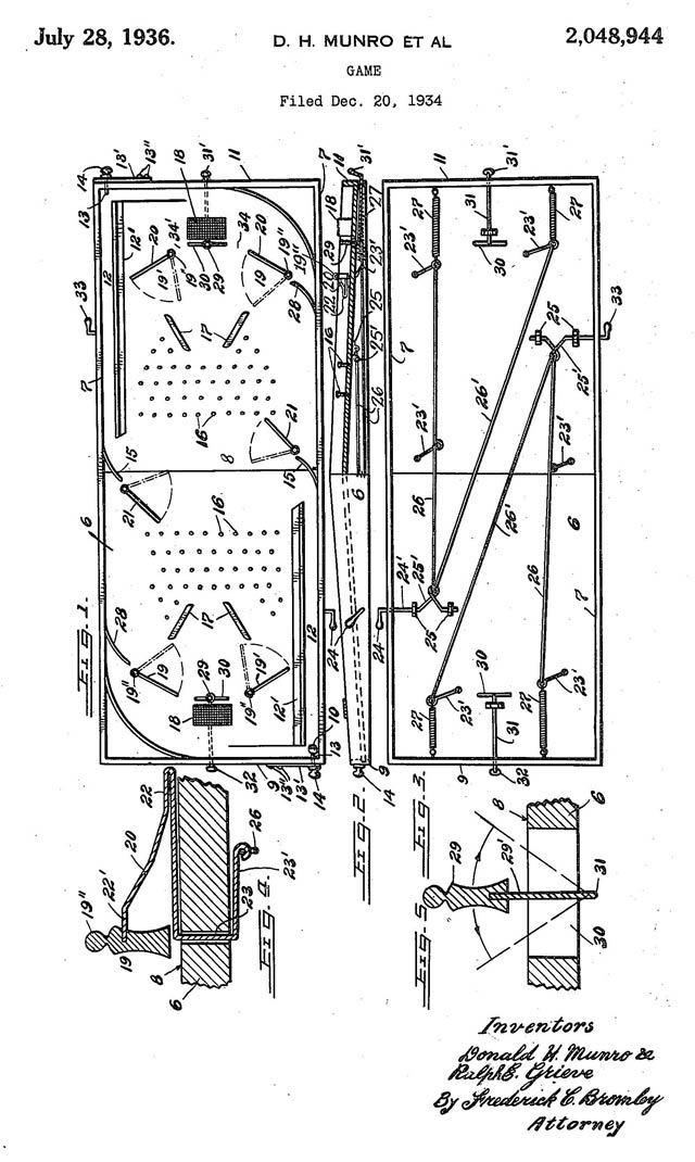 Diagram of the original table hockey game, from Donald Munro's American patent, issued in 1936. Image from Google Patents.