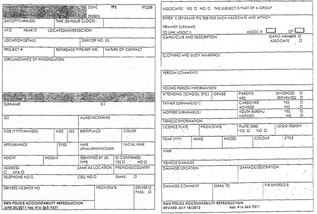 An example of a police contact card.