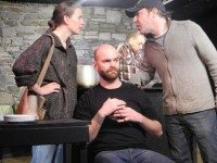 From left to right: Jenny Westoby, Mike Tanchuk, and Brian Froud (with Brendon Smith in the bakcground) in P-Dale: Episode 3; a Shot of Love to the Gut. Photo by Jonah Bettio.