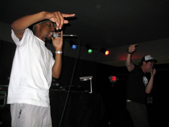 More or Les and Wordburglar on stage at the $5 Rap Show. Photo courtesy of Wordburglar.