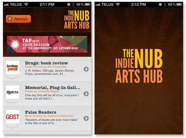 Screenshots from the iOS version of the Nub Indie Arts Hub.