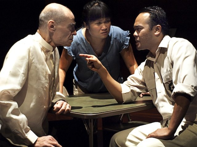 Earl Pastko, Nina Lee Aquino and Jon de Leon in Every Letter Counts. Photo by Nir Bareket.