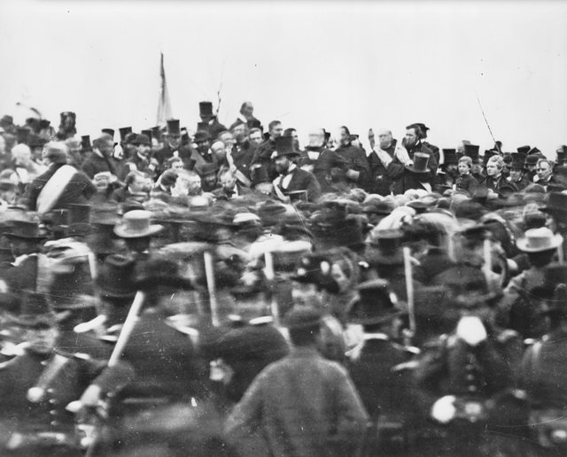 "A hatless Abraham Lincoln, left of centre, on the platform at the Soldiers' National Cemetery at Gettysburg, November 19,1863, from the {a href=""http://myloc.gov/Exhibitions/gettysburgaddress/exhibitionitems/ExhibitObjects/LincolnOnPlatform.aspx""}Library of Congress{/a} (Digital ID # cwpb-07639)."