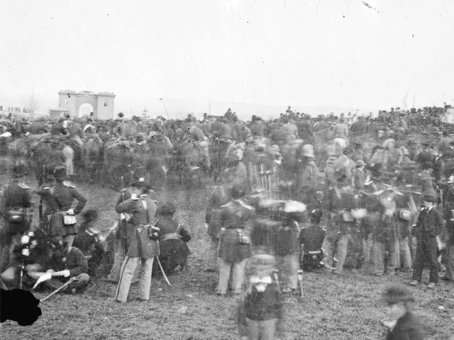 "Crowds attending the dedication of the Soldiers' National Cemetery at Gettysburg, November 19, 1863, from the {a href=""http://myloc.gov/Exhibitions/gettysburgaddress/exhibitionitems/ExhibitObjects/CrowdsAtGettysburg.aspx""}Library of Congress{/a} (Digital ID # ppmsca-17807)."