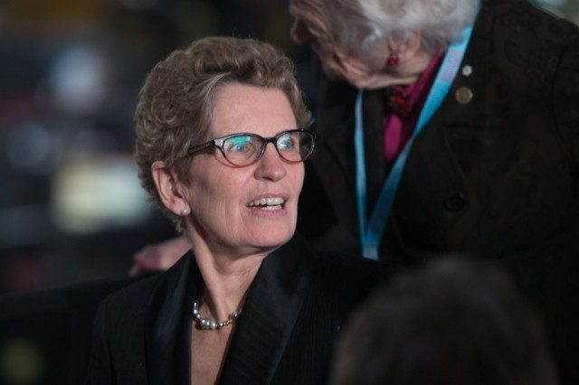 Kathleen Wynne with supporters, shortly after giving her speech at the convention.