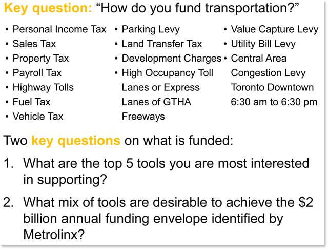 The second major question for the public: how to pay for transit?