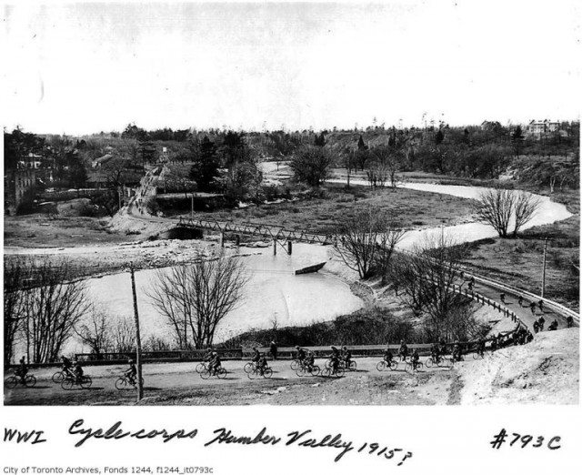 The Old Mill Bridge, looking west, during the First World War. The bridge and its environs were frequently used during local military training. City of Toronto Archives. Fonds 1244, Item 793C.