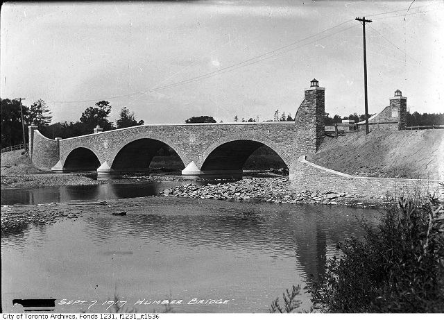 The current Old Mill Bridge, as it looked in September of 1917. City of Toronto Archives. Fonds 1231, Item 1536.