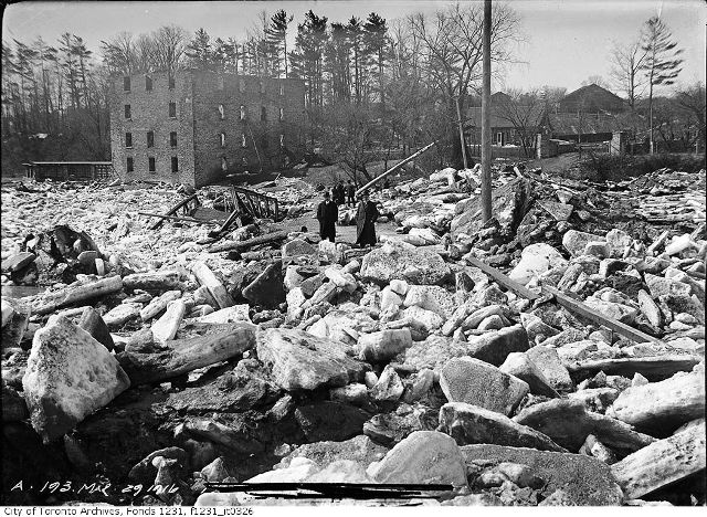 The site of the Old Mill Bridge, March 29, 1916. ty of Toronto Archives. Fonds 1231, Item 326.