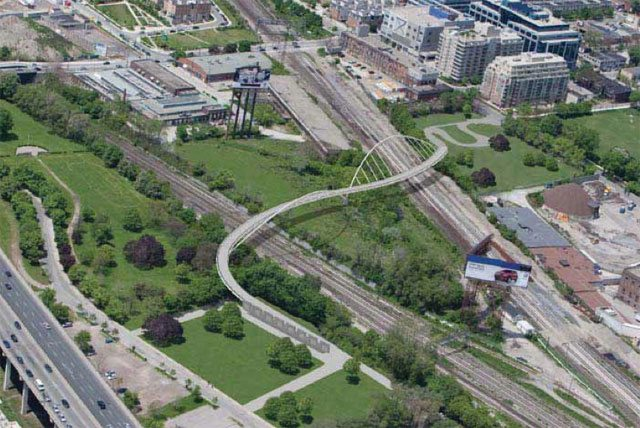 A rendering of one of the original designs for the Fort York Bridge. The designs now under consideration are different. Image courtesy of the City.