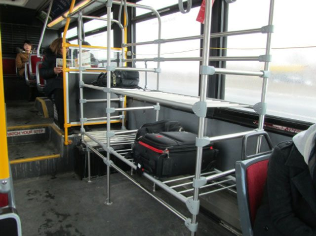 A luggage rack on a 192 Airport Rocket bus. Photo courtesy of the TTC.