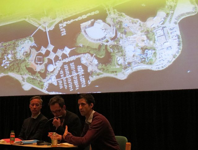 Designer Allan Guinan, architect Tom Bessai, and landscape architect Bryce Miranda discuss a future layout for Ontario Place.